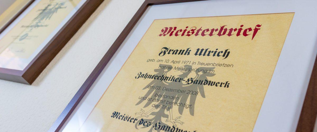 Meisterbrief Frank Ulrich Jüterbog